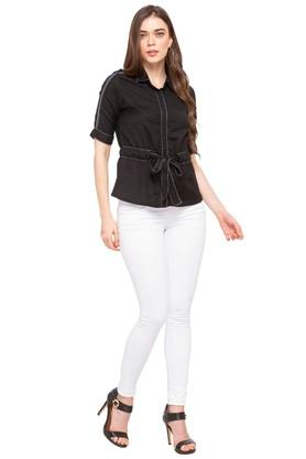 Womens Collared Solid Concealed Button Placket Shirt