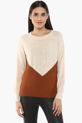 Womens Round Neck Colour Block Sweater
