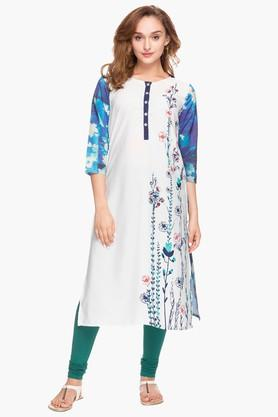 KASHISH Womens Round Neck Printed Kurta - 202978451
