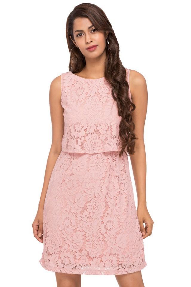 Womens Round Neck Lace Layered Dress
