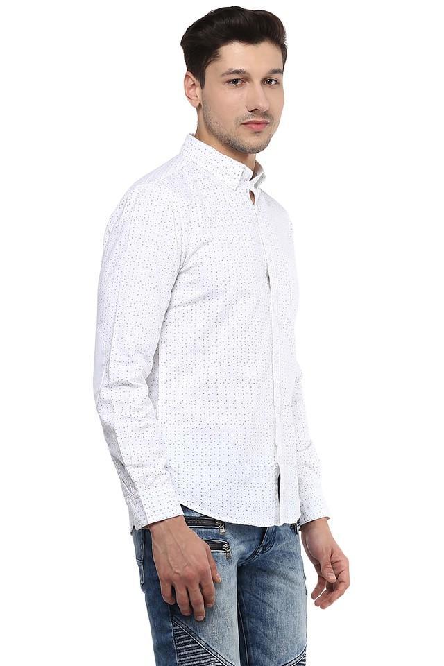 Mens Button Down Collar Dot Printed Shirt