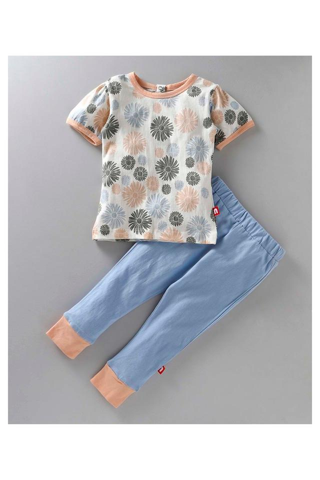 Girls Round Neck Printed Pants and Top Set