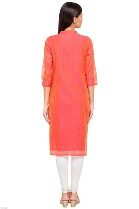 Womens Band Neck Embroidered Kurta