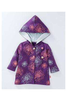Girls Regular Fit Hooded Printed Jacket