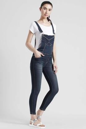 Womens 4 Pocket Whiskered Effect Dungarees