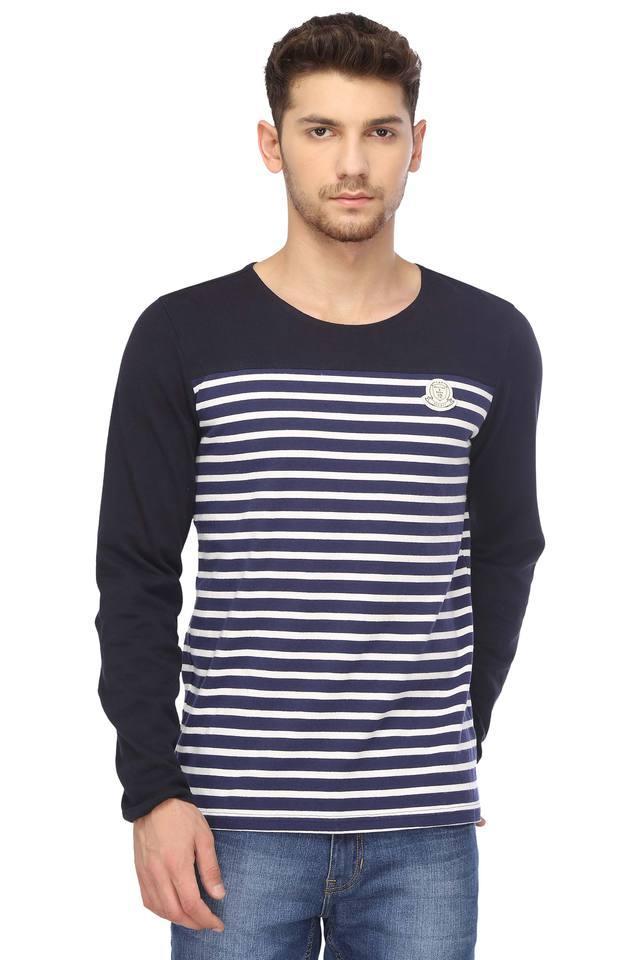 Mens Round Neck Striped T-Shirt