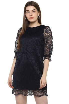 Womens Round Neck Lace Shift Dress