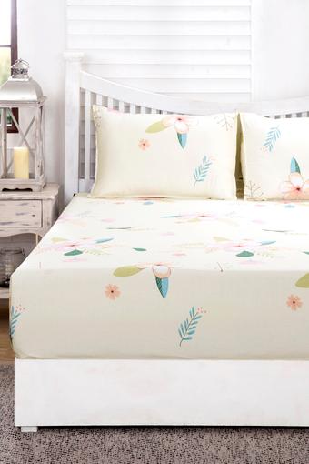 Essence Floral Adeline Multi Pastel Printed Superfine Cotton 210 TC Double  Bedsheet With 2 Pillow Covers
