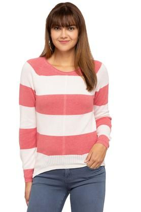 PEPE Womens Round Neck Striped Sweater