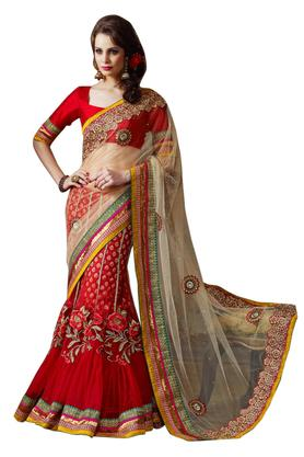 Womens Embroidered Saree with Blouse Piece