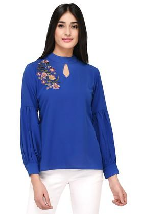 Womens Band Neck Solid Embroidered Top