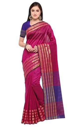 Womens Solid Gold Woven Saree with Blouse Piece
