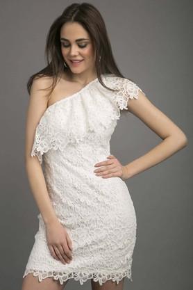 Womens Lace One Shoulder Dress