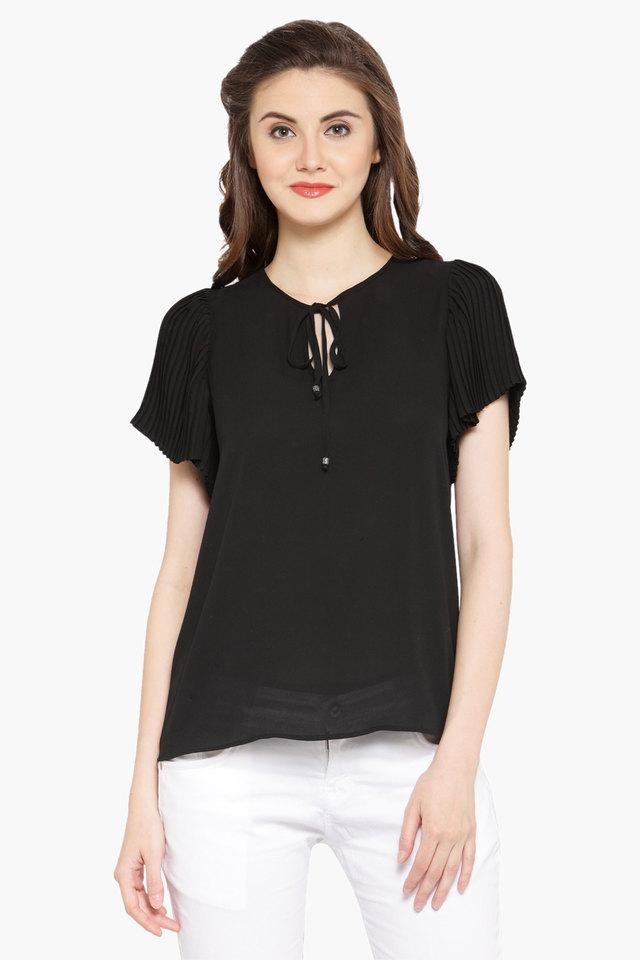 Womens Tie Up Neck Solid Blouse
