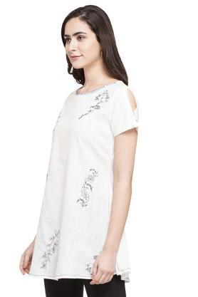 Womens Round Neck Slub Embroidered Tunic