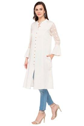 Womens Mandarin Collar Lace Kurta