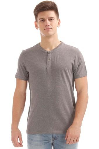 Mens Regular Fit Henley Neck Slub T-Shirt