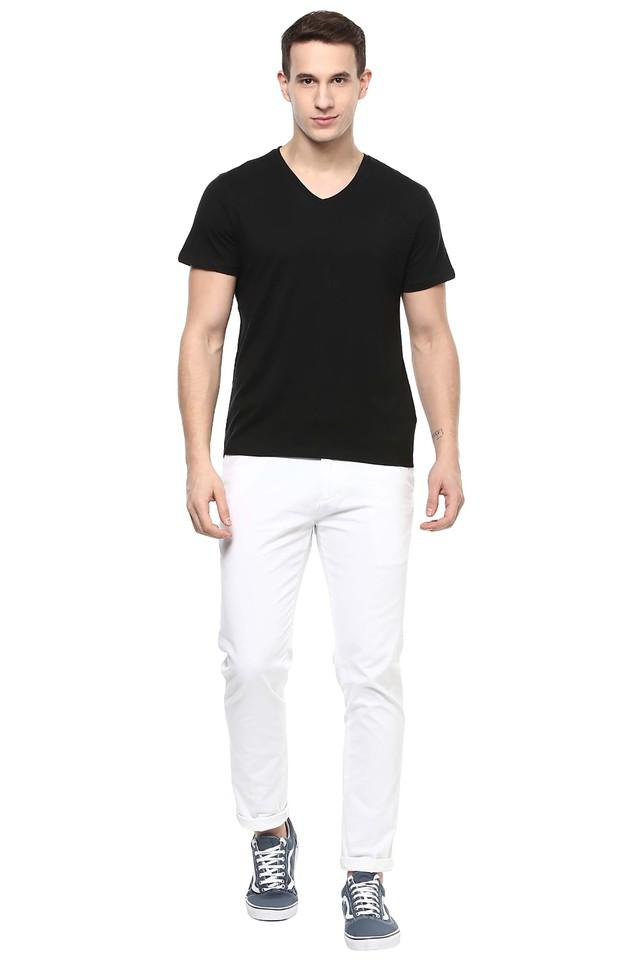Mens V-Neck Solid T-Shirt