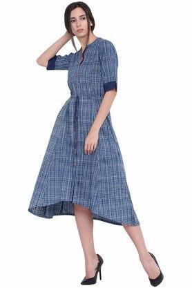 Womens Mandarin Neck Checked A-Line Dress