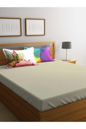 PORTICOSolid Double Bed Sheet With Pillow Cover - 203990088_9900