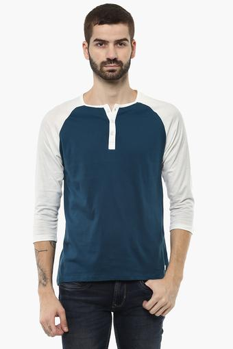 Mens Henley Neck Colour Block T-Shirt