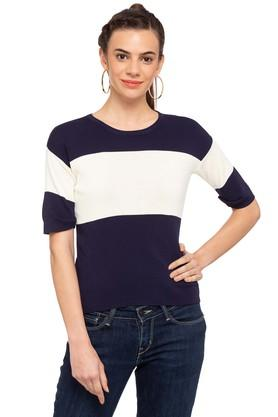 FRATINI WOMAN Womens Round Neck Colour Block Sweater