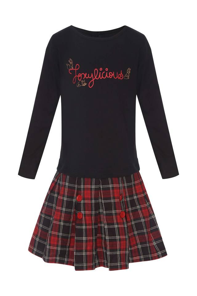 Girls Round Neck Check Top and Skirt Set