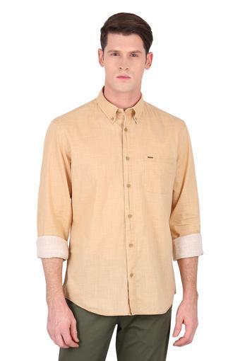 Mens Button Down Collar Slub Shirt