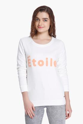 VERO MODA Womens Printed Round Neck Casual Sweatshirt