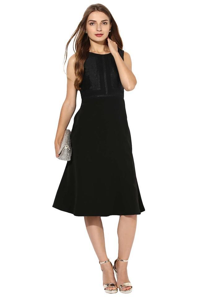 Womens Round Neck Solid Midi Dress