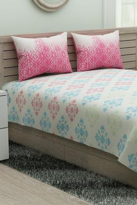 SPACESEthnic Rangana Printed Double Bed Sheet With Pillow Cover - 204761242_9557
