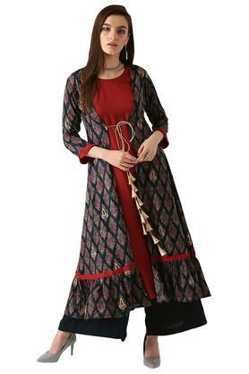 LIBASWomens Rayon Printed A-line Kurta With Long Ethnic Jacket