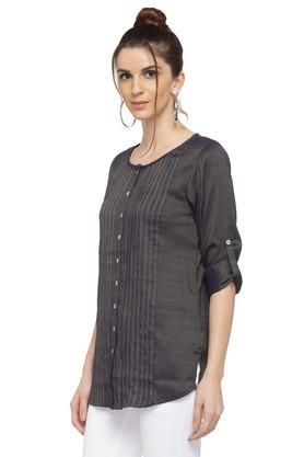 Womens Round Neck Textured Tunic