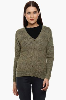 MONTE CARLO Womens V-Neck Knitted Pattern Cardigan