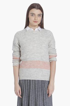VERO MODA Womens Round Neck Color Block Sweater