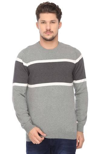 Mens Round Neck Colour Block Sweater