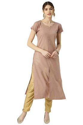 Womens Cotton Colourblocked Straight Kurta
