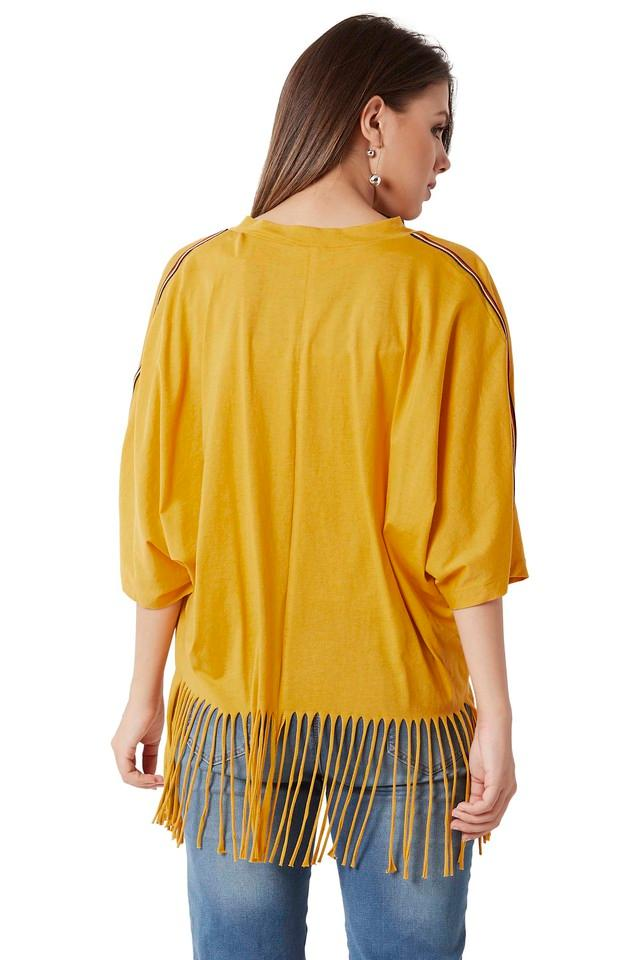 Womens Loose Fit Open Front Solid Fringe Shrug