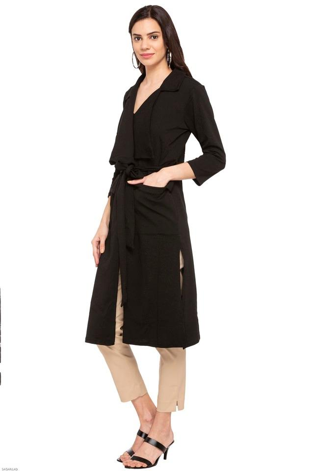 Womens Collared Solid Long Coat