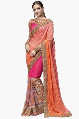 DEMARCAWomens Chiffon Embroidered Saree - 203229237