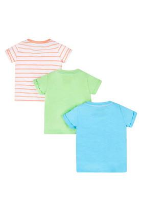 Boys Round Neck Slub Printed and Striped Tee - Pack of 3