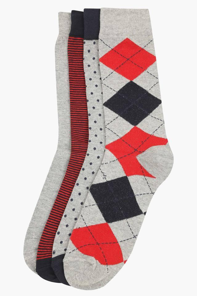 Mens Printed Stripe and Slub Socks - Pack of 4