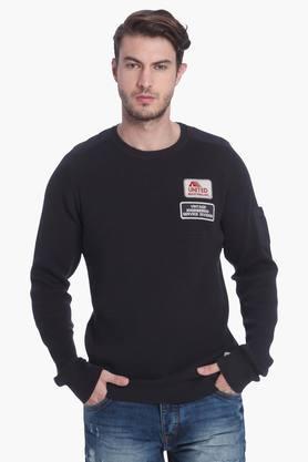 JACK AND JONESMens Slim Fit Round Neck Solid Sweatshirt