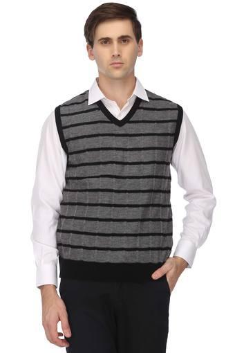 Mens V Neck Stripe Sweater