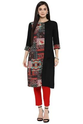 Womens Rayon Printed A-Line Kurta with Straight Pant