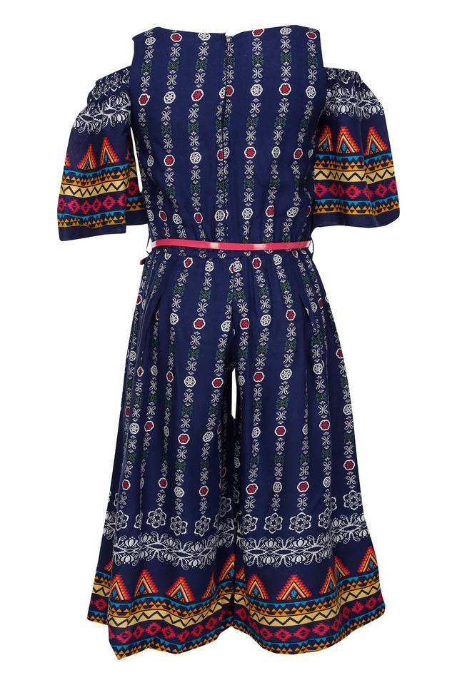 Girls Round Neck Printed Jumpsuit