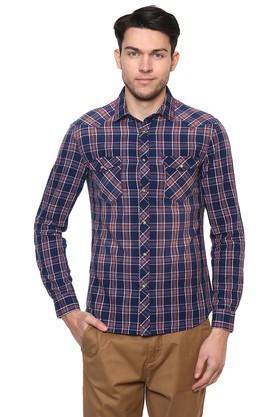 Mens Straight Fit 2 Pocket Checked Shirt