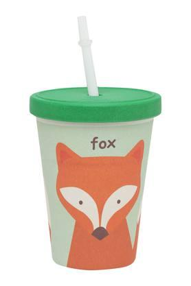 Kids Round Fox Printed Cup with Straw