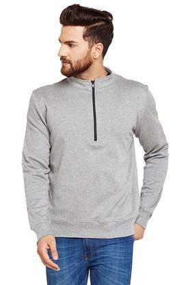 Mens Zip Through Neck Slub Sweatshirt