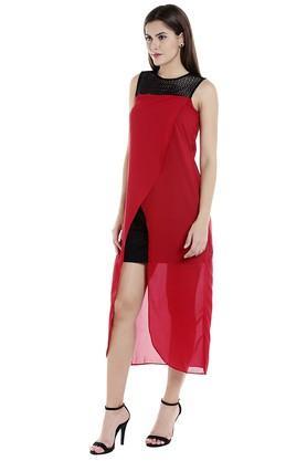 Womens Lace Calf Length Dress